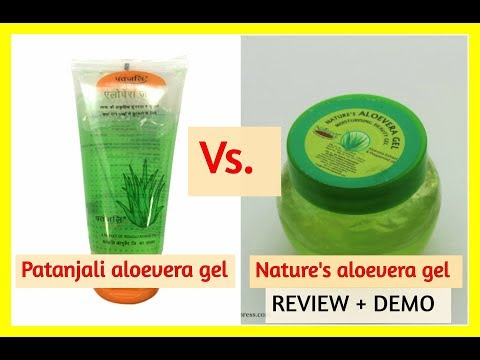 PATANJALI aloevera gel vs. NATURE'S  aloevera gel [hindi] REVIEW & DEMO of nature's aloevera gel