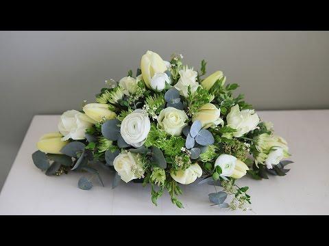 White flower funeral spray - Hardys Flowers