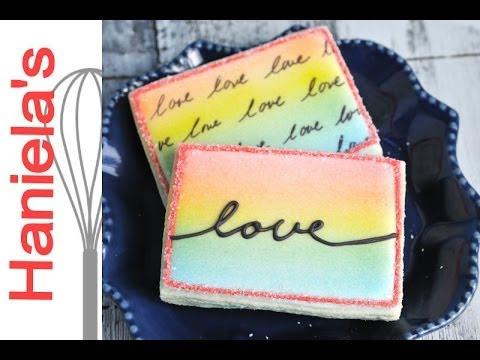 How To Airbrush Rainbow on Cookies, Love Cookies