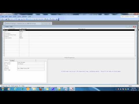 Creating Database and Table Structures In MS Access 2003