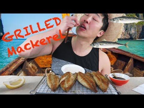 Grilled MACKEREL (SABA) MUKBANG / EATING SHOW ON A BOAT!!