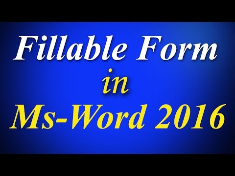 Create Fillable form step by step in ms word 2016