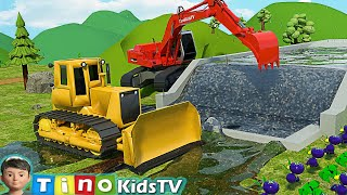 Bulldozer & Construction Trucks for Kids | Farm Water Reservoir Construction