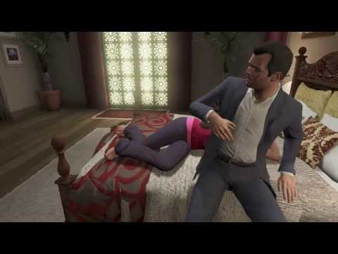 Grand Theft Auto V - Michael And Amanda In Bed