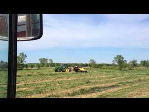 OXBO 330 or 334 Triple Merger windrows harvester feeding Haying Silage Farming Agriculture
