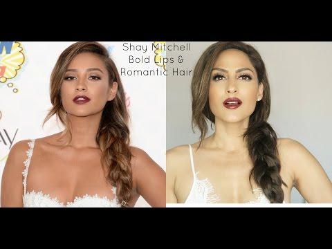 Shay Mitchell Teen Choice Awards Hair & Makeup || Bold Lips & Romantic Braided Hair