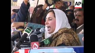 WRAP PPP ldr Benazir Bhutto, plus local reaction to campaigning; Sharif