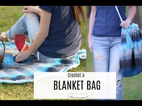 Crocheted Blanket Turns Into A Bag!