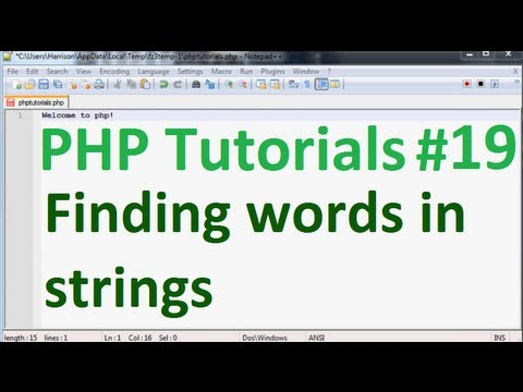 Basic PHP Tutorial 19: Finding words in strings