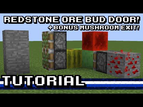 Minecraft: Redstone Ore Hidden Door (+ bonus Mushroom Door!) [Tutorial]
