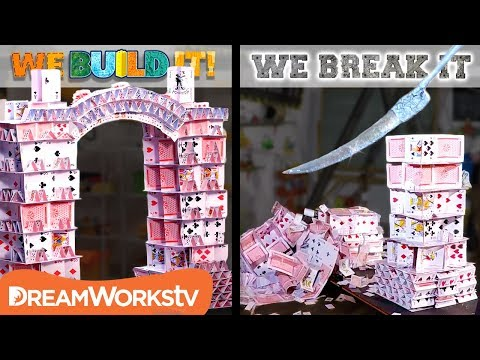 Slicing Through a Huge Card Tower | WE BUILD IT WE BREAK IT