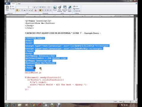 HOW TO PUT JQUERY CODE IN EXTERNAL  JS FILE TAMIL