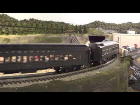 Erie Lackawanna O Scale Hi-Rail Layout - Action on MacDonald's Curve