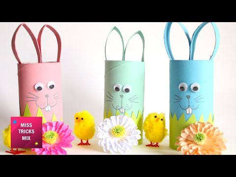 DIY : How to make an Easter  bunny using toilet paper roll/  Easter Crafts