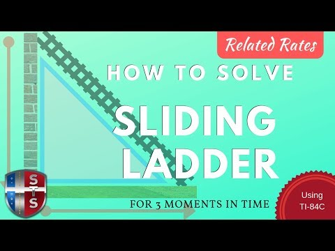 Calculus - Related Rates - Sliding Ladder Model w/ 3 Snapshots using TI-84C