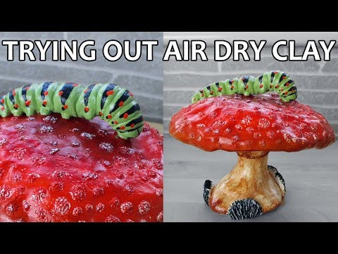 Trying Out Air Dry Clay TIME LAPSE - Toadstool and Caterpillar Sculpture || Maive Ferrando