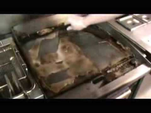 Challenge Demo - degreaser that will clean a hot griddle in seconds