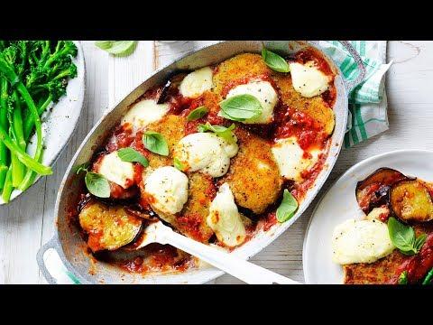 Chicken schnitzel and eggplant parmigiana