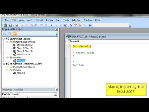 Macro, Importing To Excel 2007