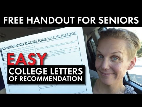 Easy College Letters of Recommendation for H.S. Seniors, FREE Handout, High School Teacher Vlog