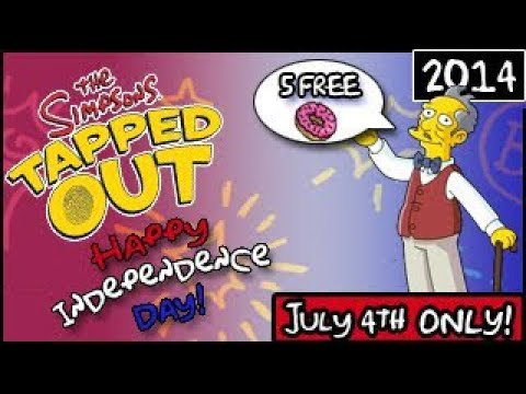 The Simpsons: Tapped Out - Happy Independence Day! - 5 Free Donuts! (2014)