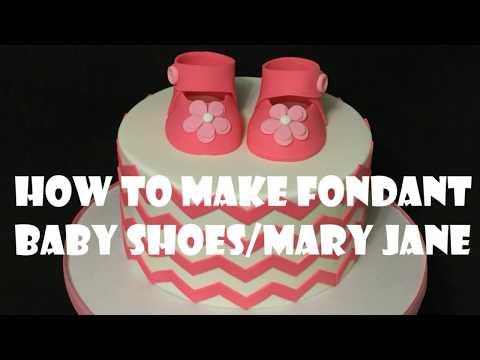 How to make fondant baby shoe Mary Jane