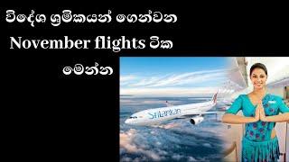 විදේශ ශ්රමිකයන් November වල කාලසටහන -flights