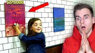 Girl Destroys Super Expensive Painting By Drawing On It!!