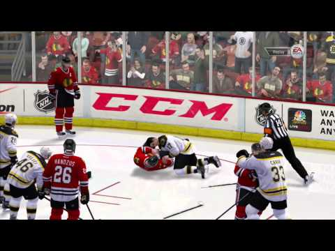 NHL 14 Demo Gameplay - Big Hit + 3rd Person Fighting