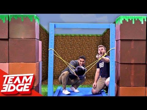 Minecraft Fort Battle IRL   GIANT Slingshot!!