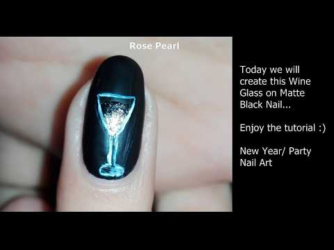 Wine Glass on Matte Black Nail Art Tutorial: Party/New Years Nails (Gold Gradient) | Rose Pearl