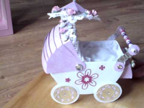 HANDMADE CARD BEAUTIFUL 3D BABY PRAM COMPLETE WITH PILLOW/QUILT & BOX