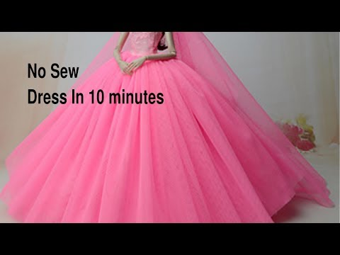 No sew removable dolls dress in 10 minutes.Dolls party/wedding dress
