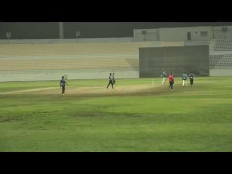 Saddam of Hanan Cricket Club Qatar Bowlling in HANAN Premier League 2016 QATAR