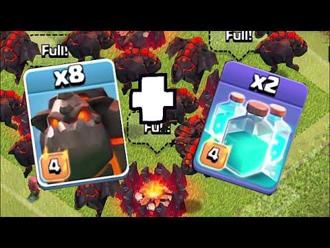 Clash Of Clans - 10 LAVALHOUNDS W/ CLONE SPELLS!!! (Mass raid against TH11)