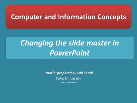 Changing the slide master in PowerPoint 2010