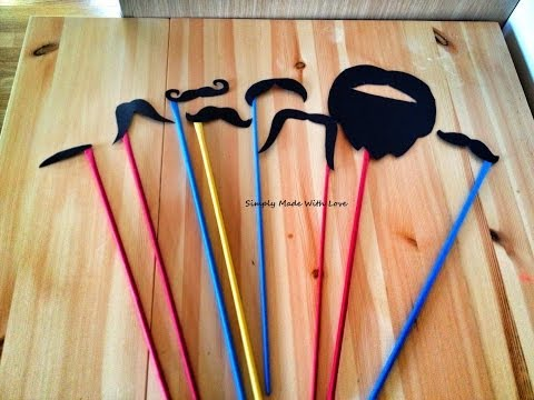 How to make a simple paper Moustache - Tutorial - wedding photo booth props