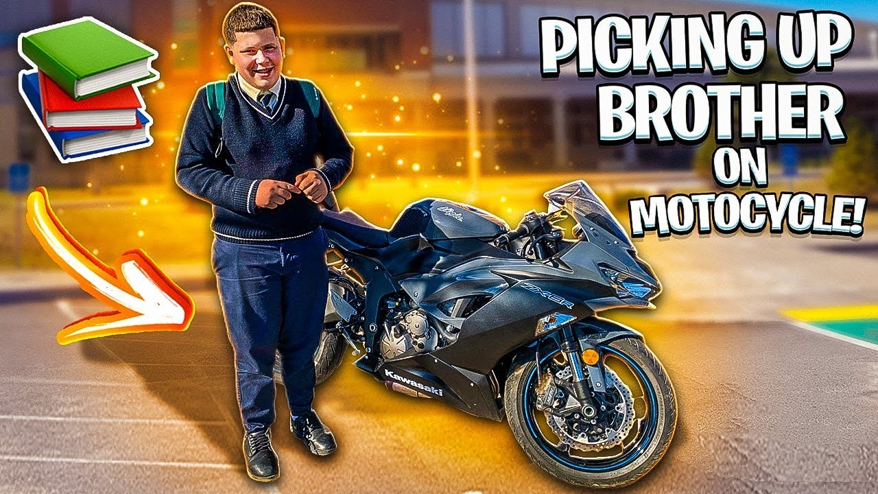PICKING UP LITTLE BROTHER FROM SCHOOL ON A MOTORCYCLE !   BRAAP VLOGS