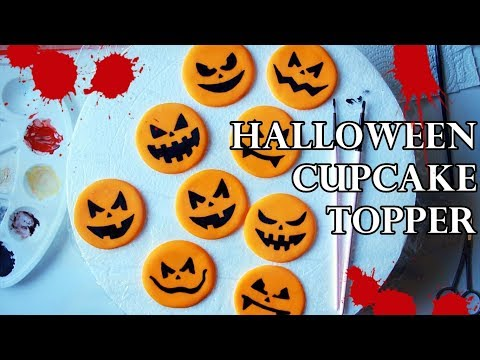HOW TO MAKE PAINTED FONDANT PUMPKIN CUPCAKE TOPPERS USING HOMEMADE STENCILS  | TUTORIAL