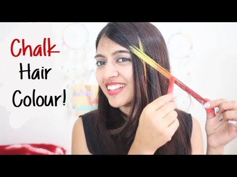 Hair Coloring With CHALK ___ | How to Color Hair at Home? |  SuperWowStyle Prachi
