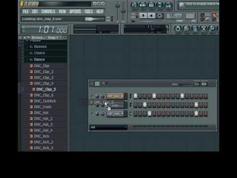 Fl Studio 8 (Tutorial)-How to make a basic hip hop beat and use patterns(Part 1 of 2)