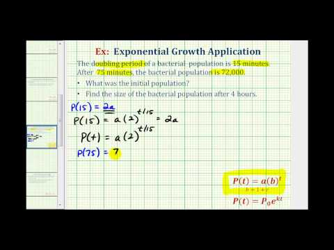 Exponential Growth App (y=ab^t) - Find Initial Amount Given Doubling Time