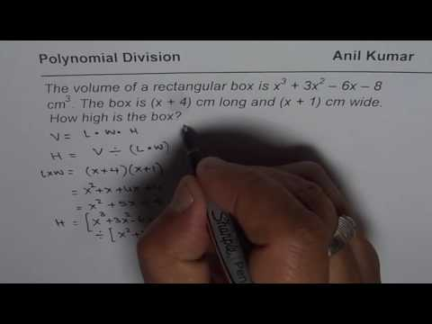 Polynomial Application Find Height from Given Volume Length and Width