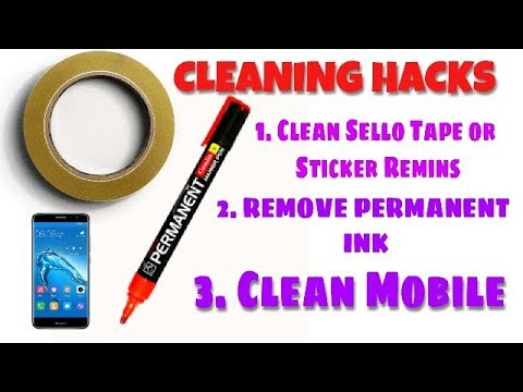 Awesome Cleaning Life Hack | Remove sello tape glue | Clean Permanent Marker Ink | Clean Mobile