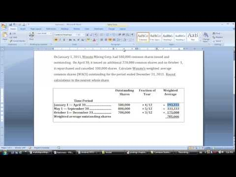 Calculate weighted average common shares (WACS)