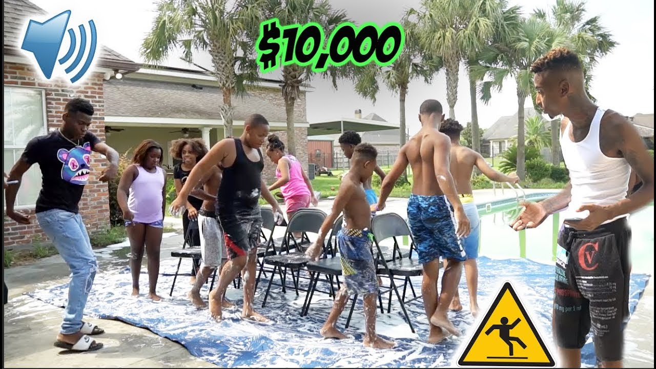 LAST KID TO SIT WINS $10,000 SLIPPERY MUSICAL CHAIRS