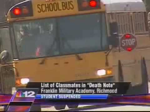 Child Suspended for having a death note in school