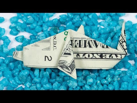 Money FISH folding, how to make a DOLLAR BILL origami DOLPHIN, instructions