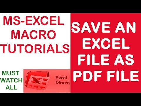 How To | Save An Excel File | As PDF File | Using Excel Macro