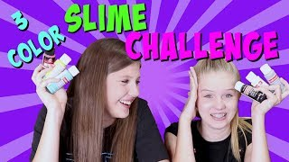 THREE COLOR SLIME CHALLENGE ROUND 2 || Taylor and Vanessa